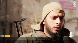 Capture d'écran d'une vidéo de propagande publiée par l'EI affirmant montrer Salim Benghalem dans la ville d'Alep.