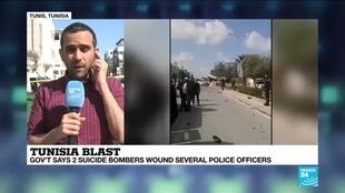 2020-03-06 14:08 Tunisia: Government says 2 suicide bombers wound several police officers