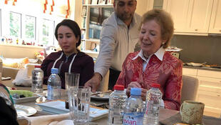 Latifa, left, with Mary Robinson, former Irish president and former UN human rights commissioner, in December 2018