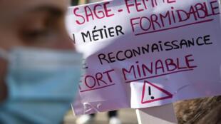 Dans une précédente manifestation de sages-femmes, à Paris, le 24 février 2021
