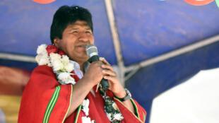 El presidente de Bolivia, Evo Morales, durante un acto público en Vila, Vila, Cochabamba, el 27 de octubre de 2019.