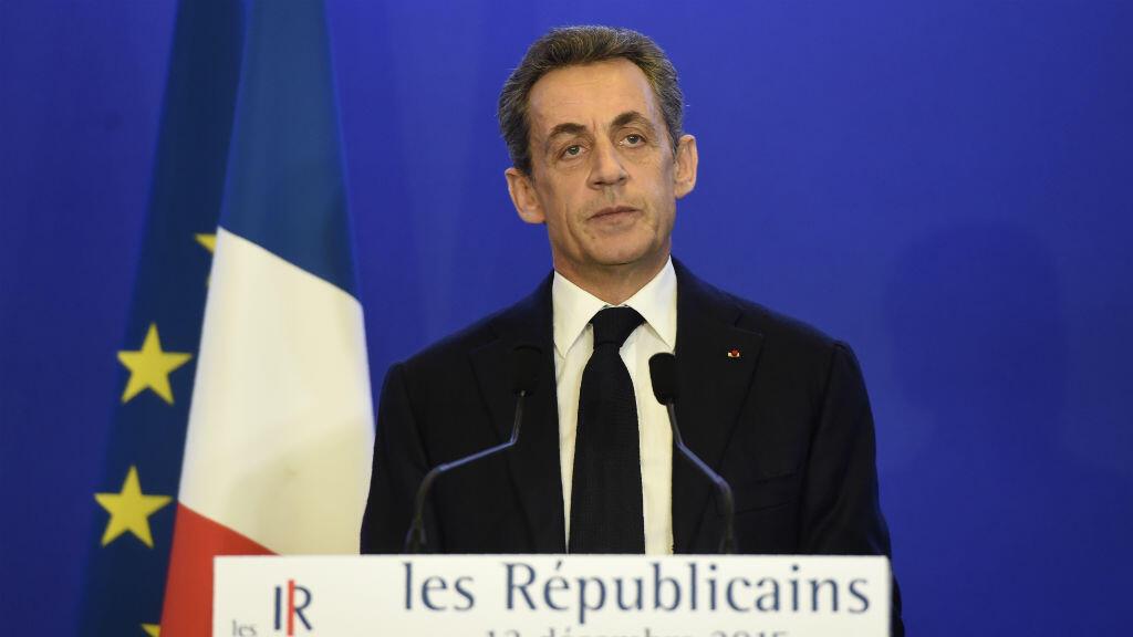 Nicolas Sarkozy appelle son parti à l'unité à l'issue du second tour des élections régionales, le 13 décembre 2015.