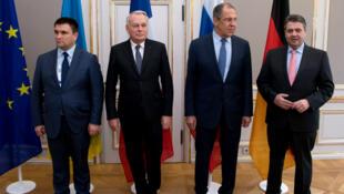 Le ministre des Affaires étrangères ukrainien Pavlo Klimkin et ses homologues français (Jean-Marc Ayrault), russe (Sergueï Lavrov), et allemand (Sigmar Gabriel) à Munich, le 18 février 2017.