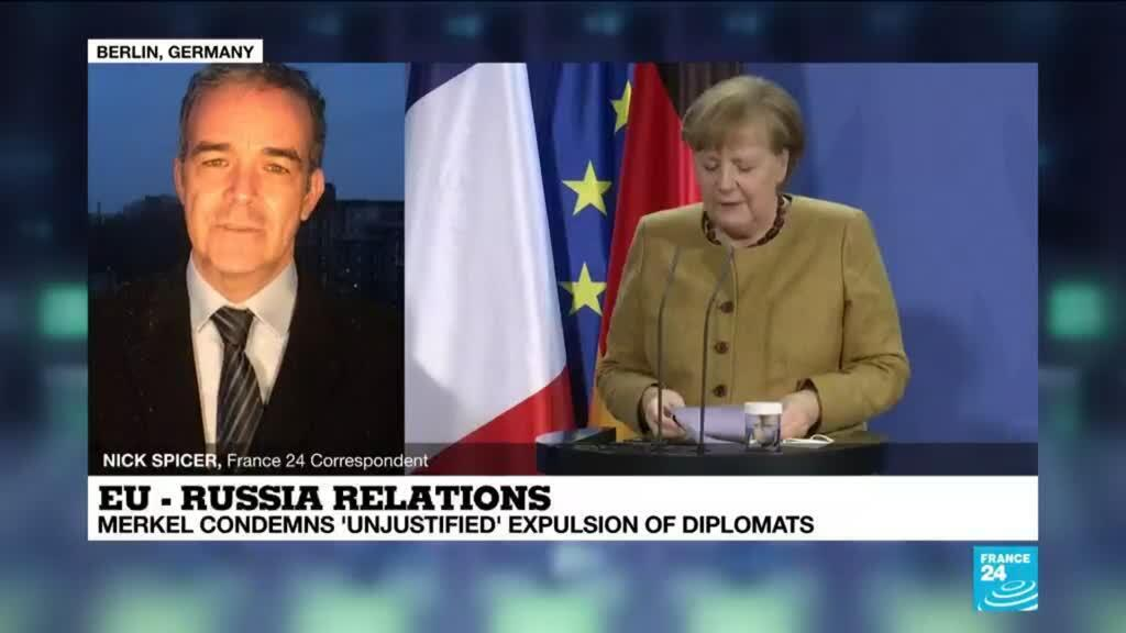 2021-02-05 17:02 Germany's Merkel condemns 'unjustified' expulsion of diplomats during summit with France's Macron
