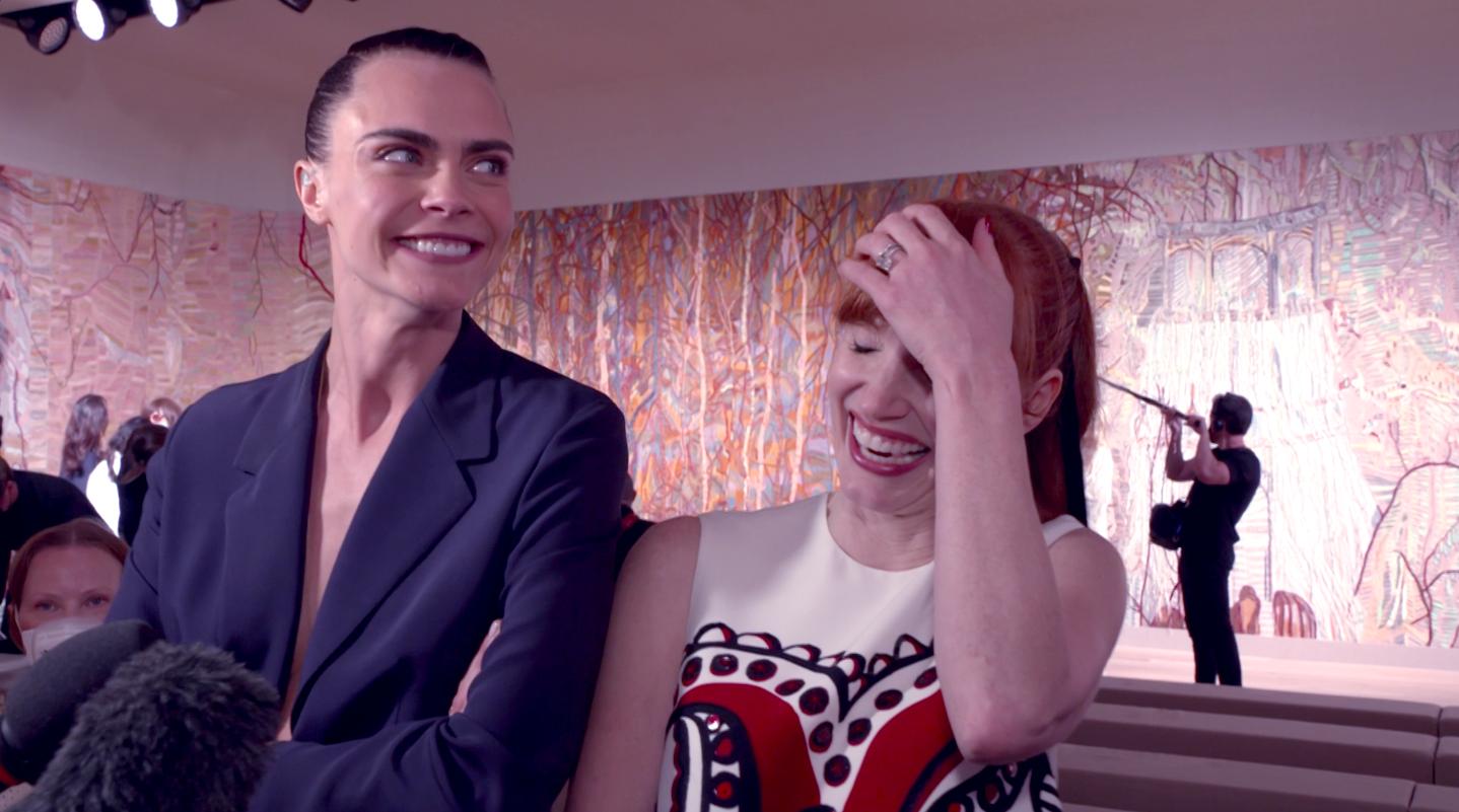 Cara Delevingne & Jessica Chastain @Dior