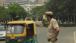 An Indian policeman in New Delhi.