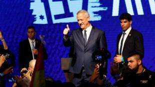 Benny Gantz (centro) principal líder del partido Azul y Blanco, reconoció la derrota en el proceso electoral de Israel el 10 de abril.