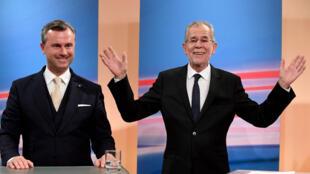 Le candidat d'extrême droite Norbert Hofer et le candidat écologiste Alexander Van der Bellen, vainqueur de l'élection présidentielle du 4 décembre 2016.