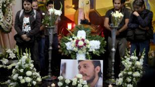 Des photojournalistes mexicains assistent aux funérailles de Ruben Espinosa à Mexico, le 2 août 2015.