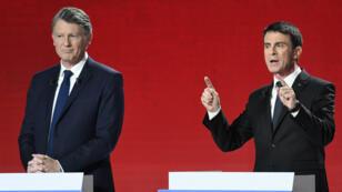 Vincent Peillon et Manuel Valls, dimanche 15 janvier 2017, lors du deuxième débat de la primaire de la gauche.