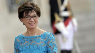 Anne-Marie Couderc, le 6 juin 2014, dans la cour de l'Élysée.