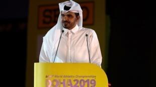 Le cheikh Joaan ben Hamad al-Thani, président du comité olympique qatari, lors de la cérémonie d'ouverture des Mondiaux d'athlétisme de Doha, le 27 septembre 2019