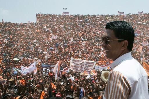 Le président malgache Andry Rajoelina, lors d'un meeting de campagne en 2018.