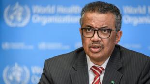 El director general de la Organización Mundial de la Salud, Tedros Adhanom Ghebreyesus, informa sobre la pandemia de coronavirus COVID-19 el 11 de marzo de 2020 en Ginebra