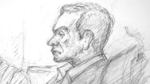 Croquis de Carlos Ghosn, mardi 8janvier2019, au tribunal de Tokyo.