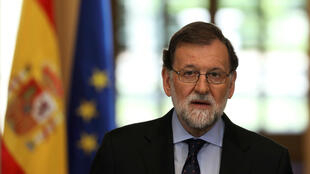 El presidente de España, Mariano Rajoy, pronunciando un discurso sobre la disolución del grupo separatista vasco ETA en el Palacio de la Moncloa en Madrid, España, el 4 de mayo de 2018.