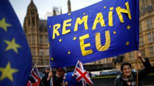 Manifestanres anti-Brexit protestan frente al Parlamento en Londres, Gran Bretaña 9 de abril de 2019.