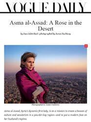 """""""Asma al-Assad, une rose dans le désert"""", titrait Vogue en février 2011"""