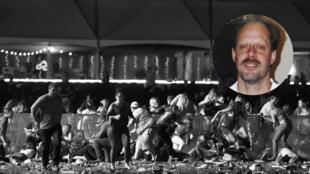 La gente se cubre en el festival de música de country luego de que fuera oído el fuego de un arma el 1 de octubre de 2017 en Las Vegas, Nevada. En el círculo la fotografía de Stephen Paddock, que reveló su hermano Eric Paddock.