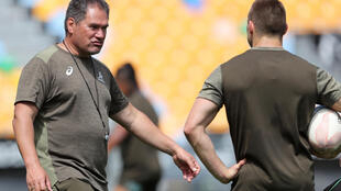 Dave Rennie (L) is heading into only his second game as Wallabies coach