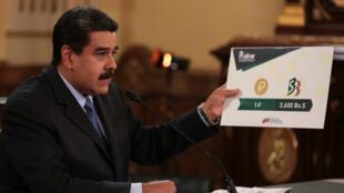 El presidente Nicolás Maduro habla desde el Palacio de Miraflores sobre cambios para favorecer la economía. Caracas, 17 de agosto de 2018.