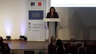La ministre des Sports, Roxana Maracineanu, lors de la Convention nationale de prévention des violences sexuelles dans le sport, le 21 février 2020.