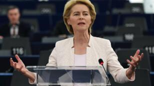 L'Allemande Ursula von der Leyen devant le Parlement européen à Strasbourg, mardi 16 juillet 2019.