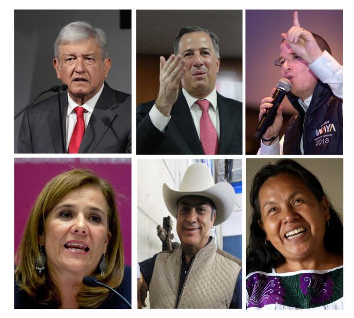 Andrés Manuel López Obrador, José Antonio Meade, Ricardo Anaya, Margarita Zavala, Jaime Rodríguez Calderón y María de Jésus Patricio Martínez.