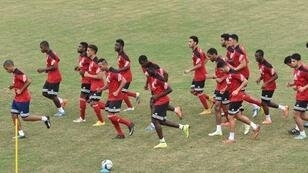 Equatorial Guinea players take part in a training session in Malabo on February 3.
