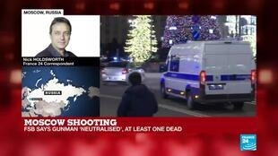 2019-12-19 19:01 FSB employee killed and casualties reported in Moscow shooting, FRANCE 24's Nick Holdsworth reports