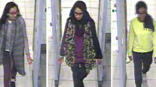 La police métropolitaine de Londres a diffusé cette image de vidéo-surveillance prise à l'aéroport de Gatwick, à Londres, sur laquelle on aperçoit les trois adolescentes quitter le Royaume-Uni vers la Turquie,  le 17 février 2015.