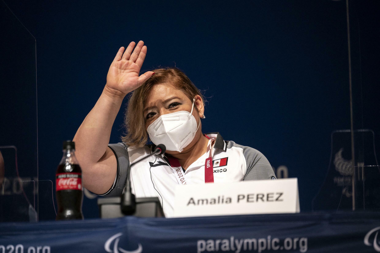 Amalia Perez lors d'une conférence de presse avant l'ouverture des Jeux paralympiques de Tokyo, le 22 août 2021.