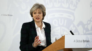 La Première ministre britannique Theresa May, le 17 janvier 2017, lors de son discours sur le Brexit à Lancaster House.