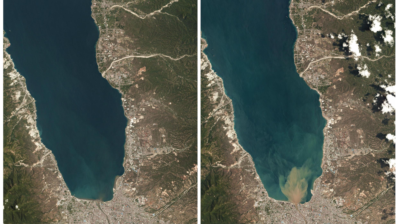 Imágenes tomadas de la isla de Célebes en septiembre (izquierda) y en octubre (derecha).