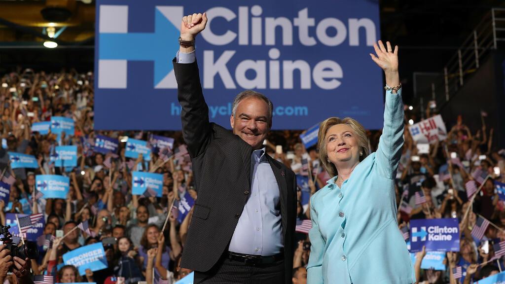 Tim Kaine et Hillary Clinton, samedi 23 juillet 2016, à Miami.