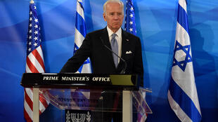 Democratic presidential hopeful Joe Biden -- seen here in Jerusalem in 2016 -- said if elected, his administration would continue to work for a two-state solution in the Middle East -- but that he would leave the US embassy in Jerusalem