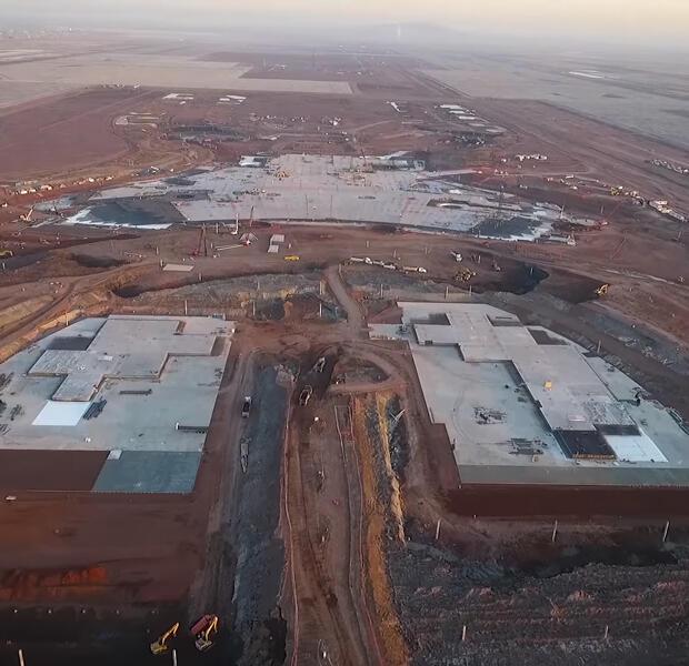 Vista de la obra del nuevo aeropuerto internacional de México.