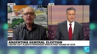 "2019-10-28 18:41 Richard Lapper on France 24: ""New administration will be very different to that of Cristina Fernandez de Kirchner"""