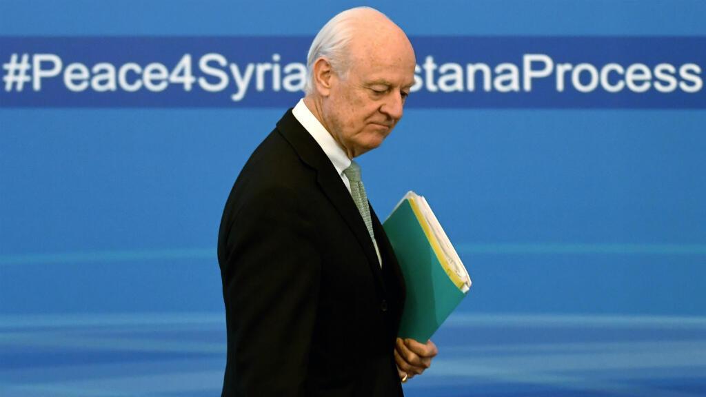 L'envoyé spécial des Nations unies pour la Syrie, Staffan de Mistura, à Astana.