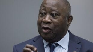 Ex-Ivorian president Laurent Gbagbo at the International Criminal Court at The Hague.