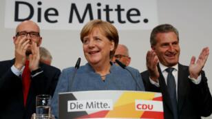 Angela Merkel lors de son discours de victoire le 24 septembre 2017.