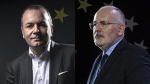 Le débat de France 24, mercredi 17 avril, oppose la tête de liste du PPE Manfred Weber (à gauche) à Frans Timmermans, chef de file du PSE.