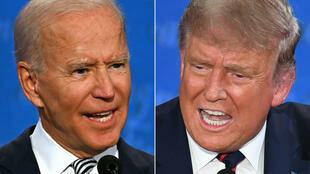 Joe Biden (izq) y Donald Trump, en sendas imágenes del debate electoral celebrado el 29 de septiembre de 2020 en Cleveland (EEUU)