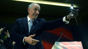 Right-wing candidate for Portugal's presidency Marcelo Rebelo de Sousa takes part in the campaign closing meeting in Celorico de Basto, on January 22, 2016.