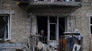 A view shows the aftermath of recent shelling during the fighting between Armenia and Azerbaijan over the Nagorno-Karabakh region in the region's main city of Stepanakert on October 4, 2020.