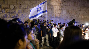 Une manifestation israélienne d'extrême droite contre les Palestiniens devant l'une des entrées de la Vieille ville de Jérusalem, le 3 octobre 2015.