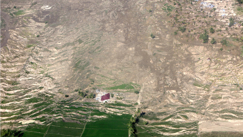 Vista aérea de la ciudad de Palu.