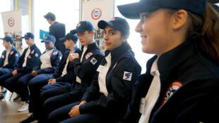 Des jeunes volontaires du service national universel, le 18 avril 2019, réunis au ministère de l'Éducation, à Paris.