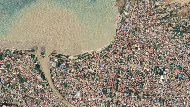 La ciudad de Palu antes del terremoto y el tsunami.