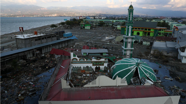 La mezquita de Palu destruida casi en su totalidad.